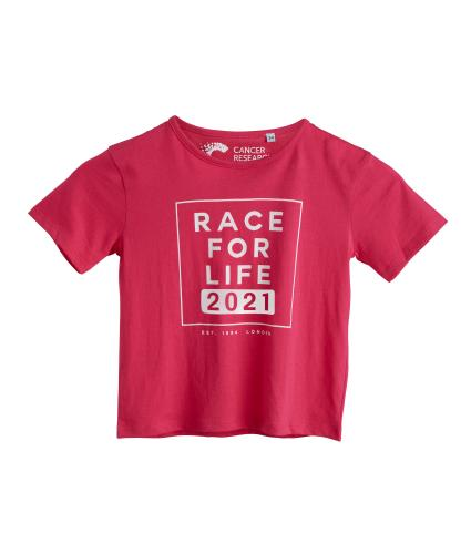 Race for Life 2021 Dated Young Kids Tee Girl